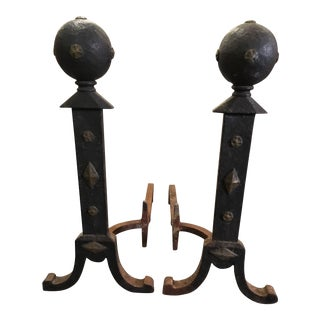 1920s Arts and Crafts Cast Iron Andirons - a Pair For Sale