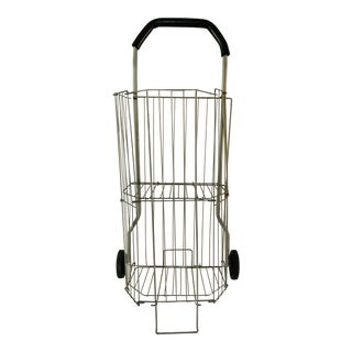 Vintage Metal Rolling Flea Market Shopping Basket Cart, Collapsible 1950s For Sale