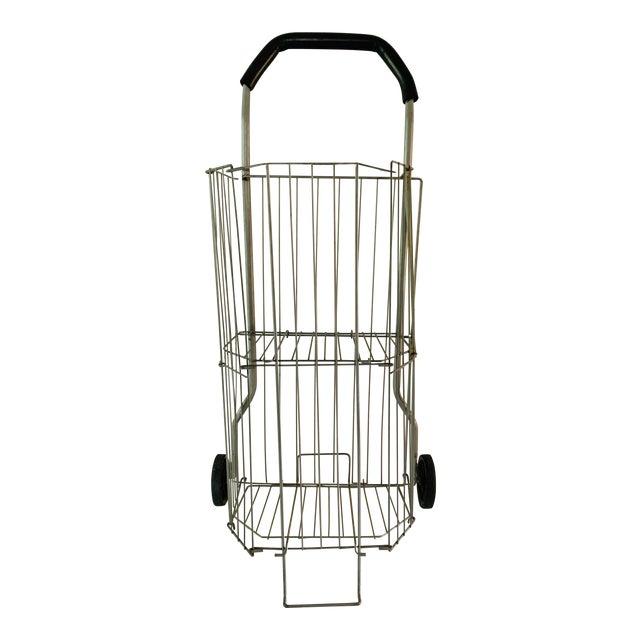 Vintage Metal Rolling Flea Market Shopping Basket Cart, Collapsible 1950s For Sale