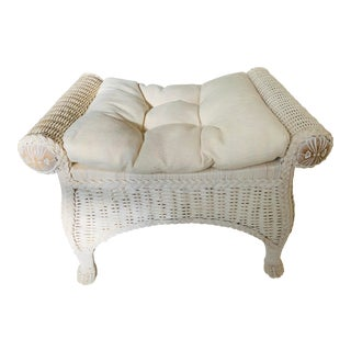 Rattan Off White Stool With Cushion For Sale