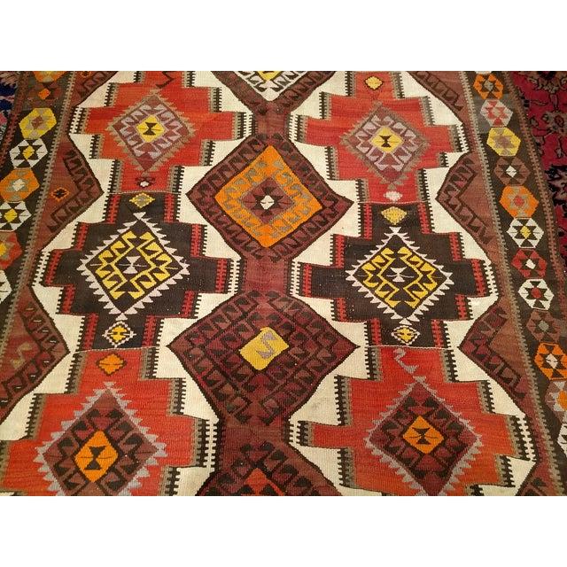 Textile 1940s Vintage Kurdish Kilim Rug - 5′ × 14′2″ For Sale - Image 7 of 12