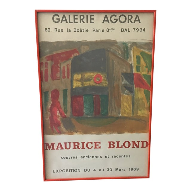 1969 Abstract Maurice Blond Original Gallery Poster For Sale
