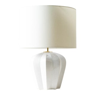 Contemporary Pierre White Ceramic Table Lamp For Sale