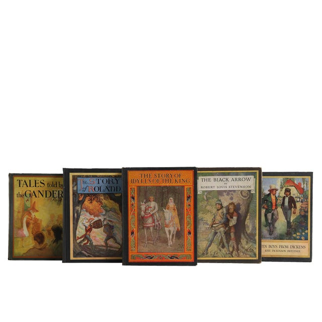 Vintage Book Display Set - Tales from Britain. Five antique and early vintage featuring decorative books with handsome...