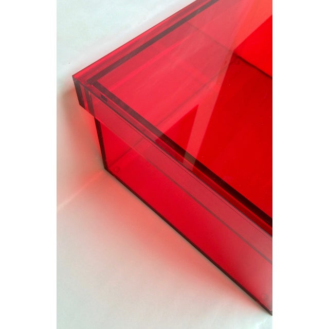 Vintage Red Acrylic Storage Box - Image 6 of 7