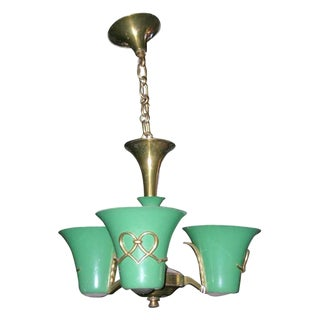 French Atelier Petitot 1940s Three-Light Chandelier For Sale
