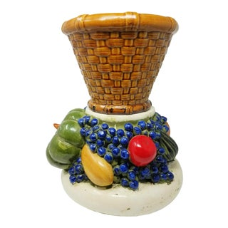 Vintage Topiary Porcelain Fruit Plant Stand With Basket Weave Cache Pot For Sale