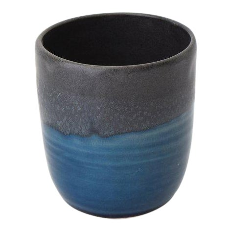 Contemporary Handmade Charcoal and French Blue Tea Cup by FisheyeCeramics For Sale