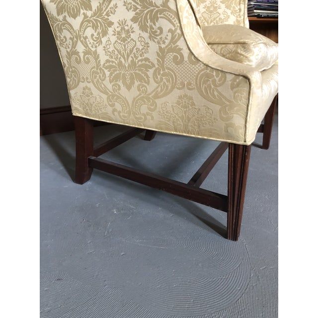 American Federal Style Yellow Jacquard Wingback Chair With Down Cushion For Sale - Image 10 of 13