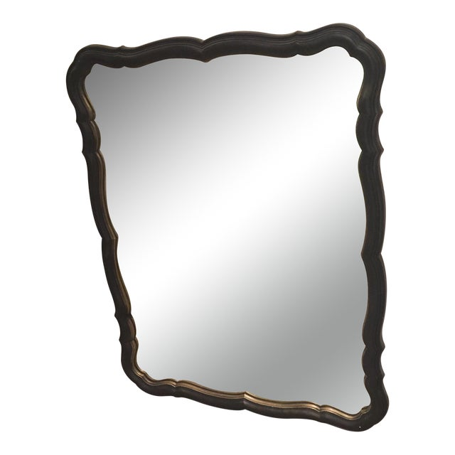 Traditional Black and Gold Scalloped Mirror For Sale