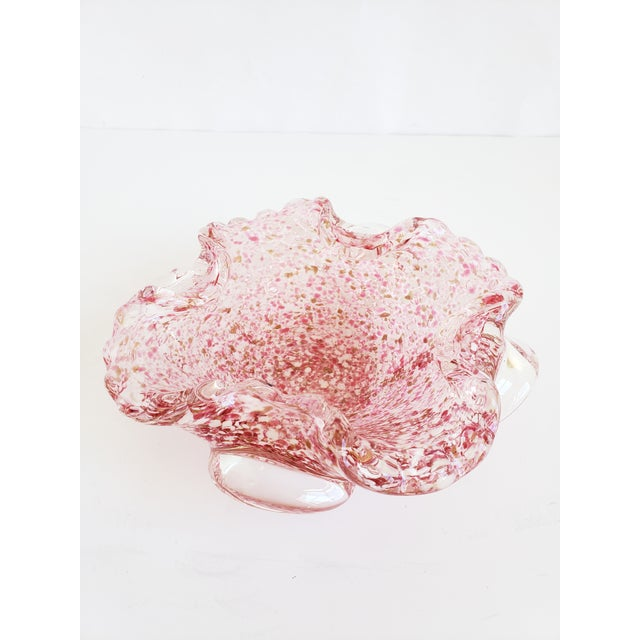 Murano Italian Murano Glass Pink and Gold Candy Dish For Sale - Image 4 of 12