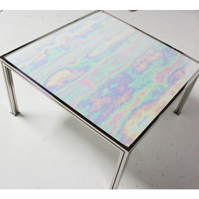 Chrome Coffee Table With Opal Slag Glass - Image 3 of 6