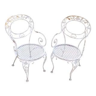 Vintage Woodard Iron Patio Chairs - A Pair
