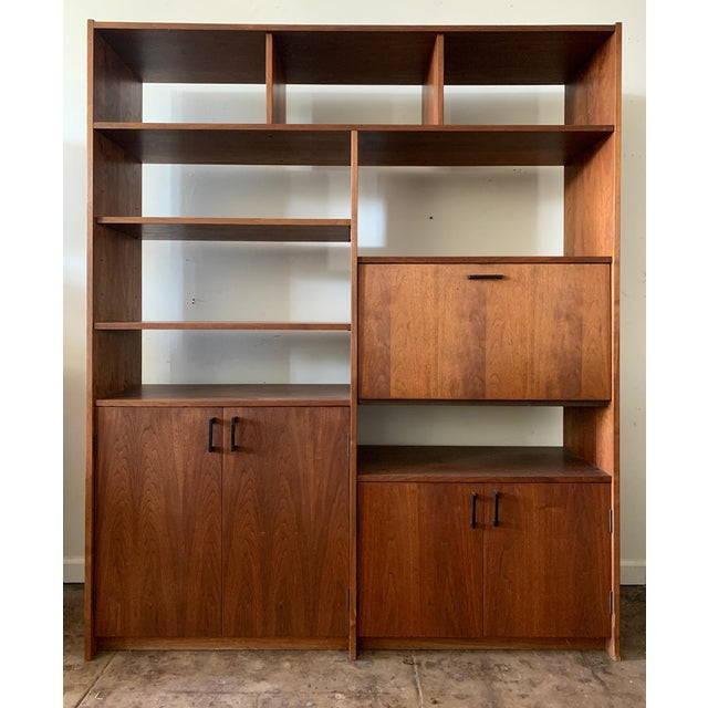 Mid-Century Walnut Shelving Unit with Desk For Sale - Image 9 of 9