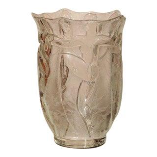 Art Deco Glass Vase by Verrerie Degue, David Gueron For Sale