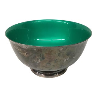 Reed & Barton Silver Plate Green Enamel Revere Bowl For Sale