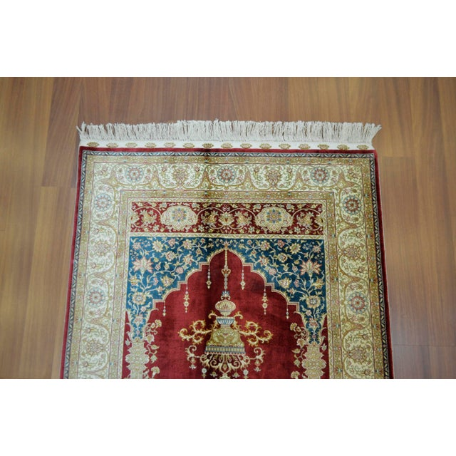 Hand Knotted Turkish Silk Rug - 3′1″ × 4′5″ - Image 6 of 9