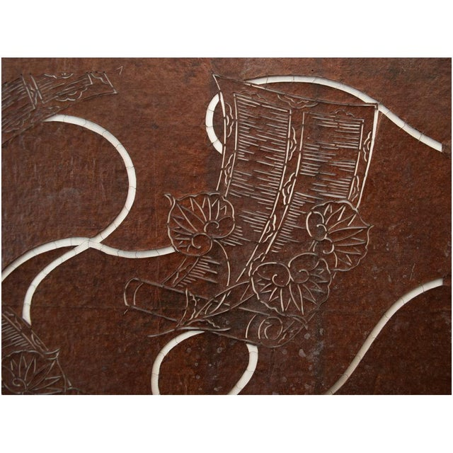 1950s C.1850s Edo Era Japanese Katagami Scrolls and Leaves Stencil Art For Sale - Image 5 of 13