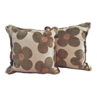 1980s Vintage Borgata Crazy Flower Pillows - a Pair For Sale