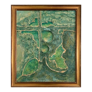 Textured Green Abstract Painting Signed R. Weaver For Sale