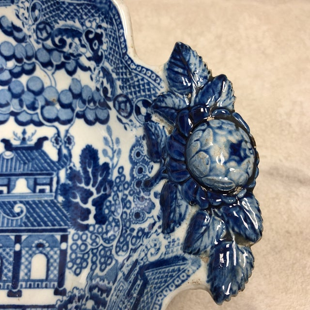 1800's Antique Rogers Blue Willow Serving Dish For Sale - Image 4 of 8