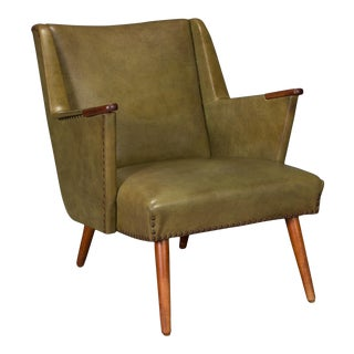1950s Mid-Century Modern Green Teak Lounge Easy Chair For Sale