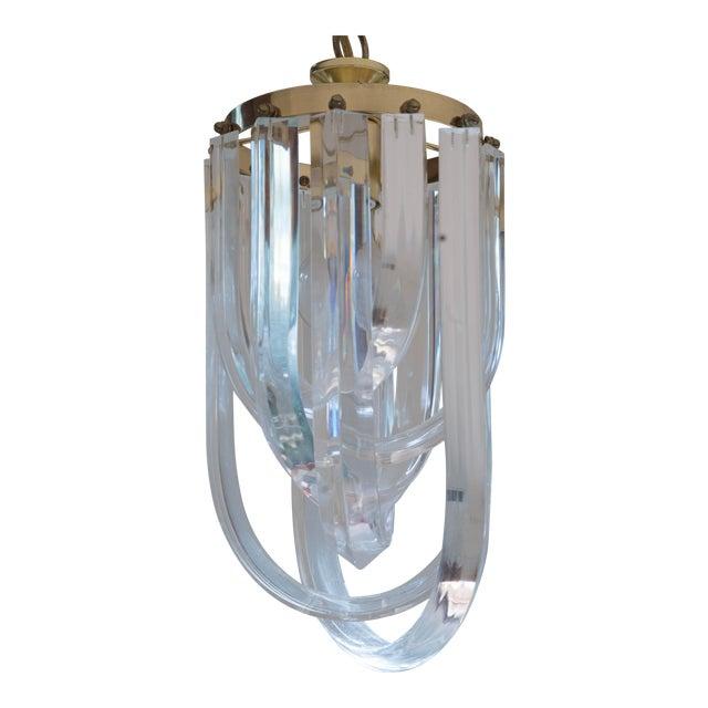 Vintage Glam Regency Lucite Ribbon Chandelier Light - Image 1 of 6