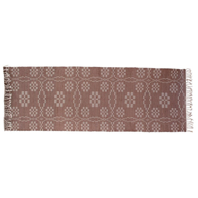 "Handwoven Reversible Vintage Swedish Rug by Scandinavian Made 85"" x 27"" For Sale - Image 9 of 9"
