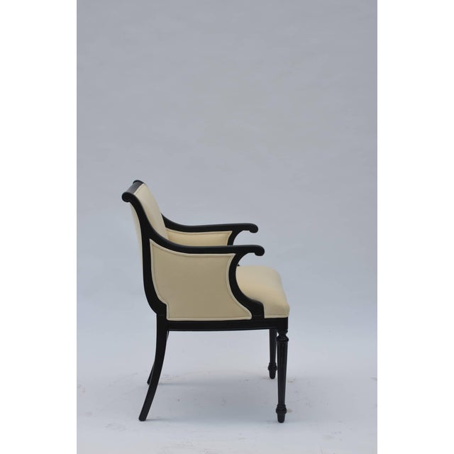 Pair of Chic Black Lacquer and Cream Velvet Armchairs by William Haines For Sale - Image 4 of 8