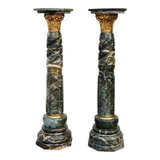 Gilt Bronze & Green Marble Column Pedestals - A Pair