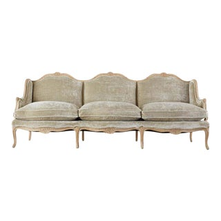 French Louis XV Style Velvet Canapé à Oreilles Sofa For Sale