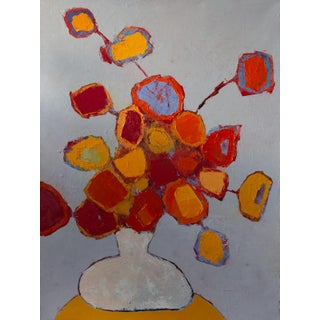 """Bill Tansey """" White Vase """" Abstract Floral Oil Painting on Canvas For Sale"""