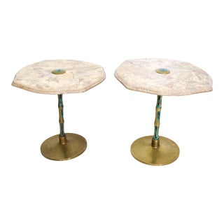 Pepe Mendoza, Pair of Side Tables, Mid Century Mexican Modernist, Bronze Malachite For Sale