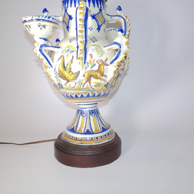 Delft Blue And White Vase Made Into A Table Lamp On Wood Base Chairish