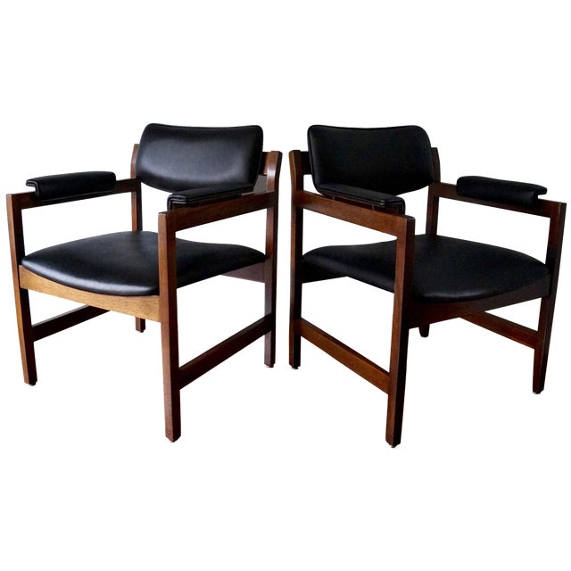 Mid-Century Walnut Arm Chairs - a Pair For Sale