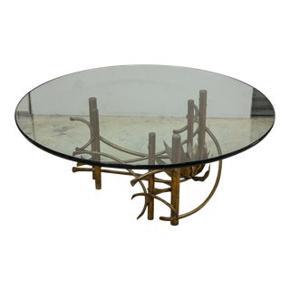 Vintage Mid Century Modern Brutalist Glass Coffee Table
