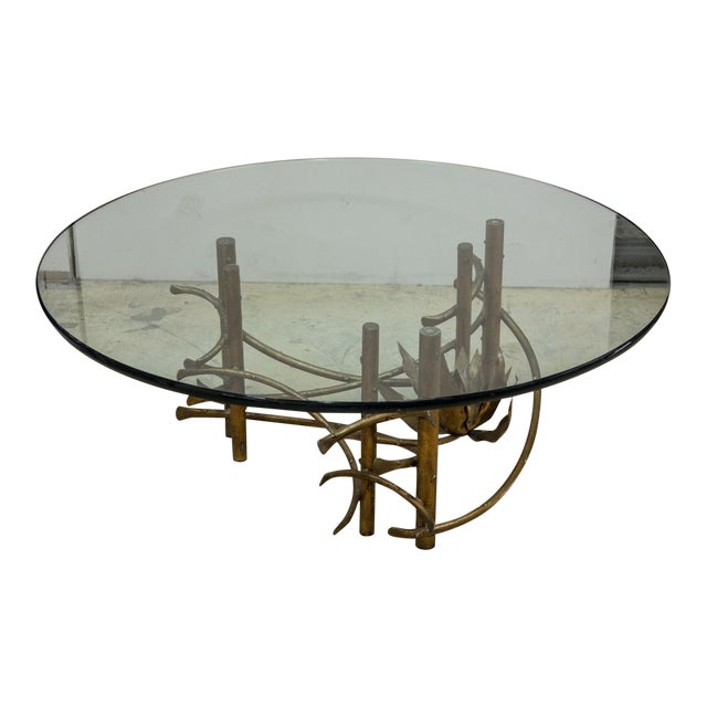 Vintage Mid Century Modern Brutalist Glass Coffee Table