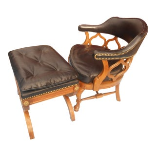 Vintage Kindell French Louis XVI Style Leather Side Chair & Ottoman For Sale