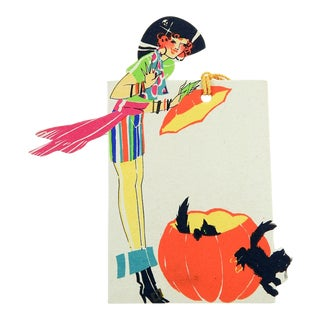 Pirate Costume Art Deco Halloween Bridge Tally Card For Sale