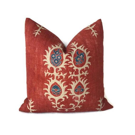 Textile Red Tribal Flame Pillow Cover For Sale - Image 7 of 7