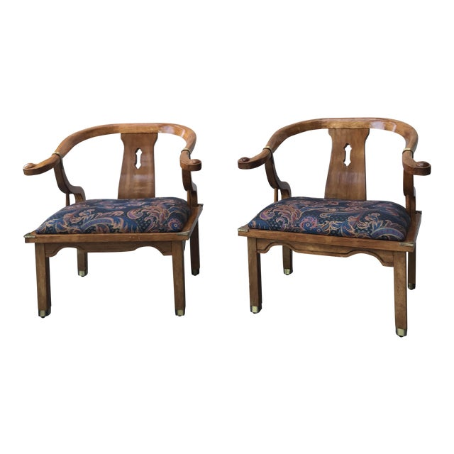 Mid-Century Regency Horseshoe Chairs - A Pair - Image 1 of 7