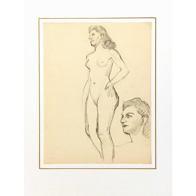 Nude Graphite Drawing by Jean Ernst, C. 1940 - Image 3 of 3