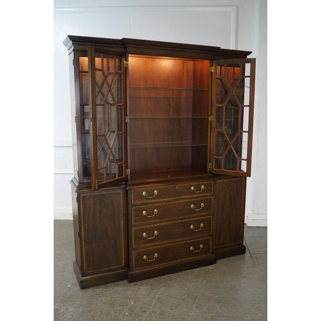 Henkel Harris Mahogany Chippendale Style London Breakfront For Sale - Image 5 of 10