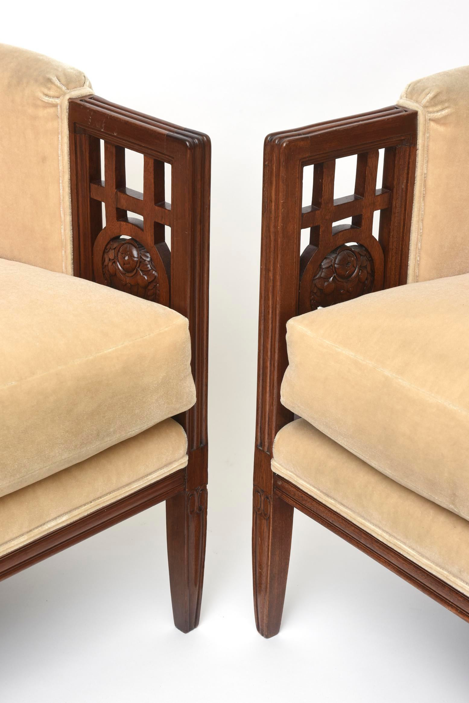Fine Pair Of French Art Deco Mahogany Chairs Paul Follot