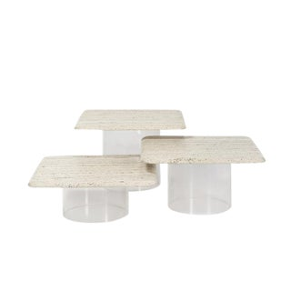 1970's Set of 3 Travertine and Acrylic Tables For Sale