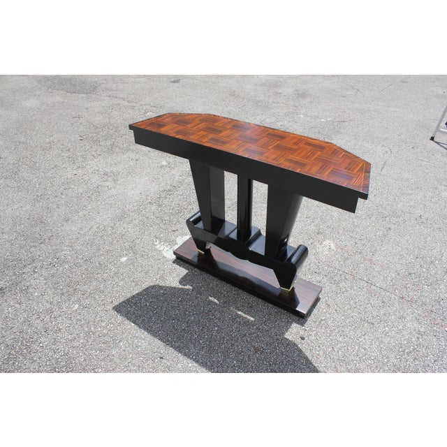 Art Deco 1940s French Art Deco Macassar Ebony Console Table For Sale - Image 3 of 13