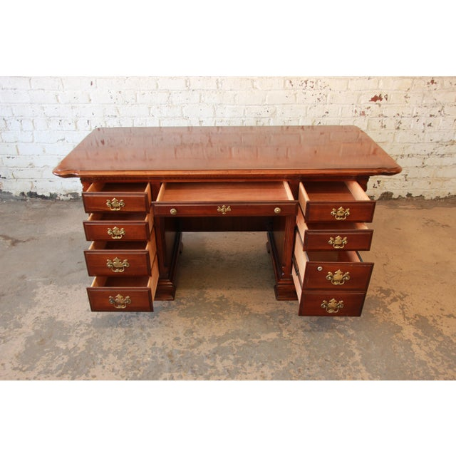 Brown Lexington Furniture Cherry Wood Executive Desk For Image 8 Of 11