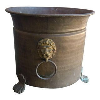 Solid Brass Footed Cachepot For Sale