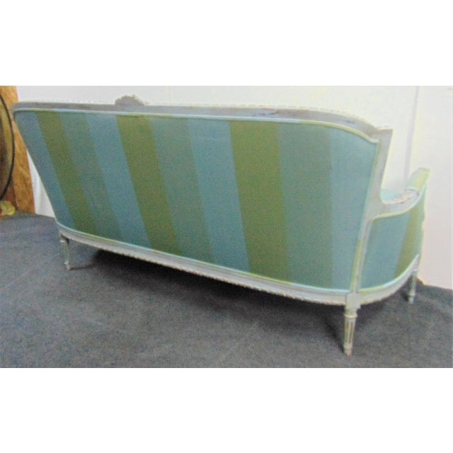 Louis XVI Hand Carved Blue Painted Silk Sofa For Sale - Image 10 of 11