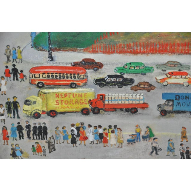 """Large Scale New York City """"United Nations"""" Folk Art Painting by Helen Mauldin C.1958 For Sale In San Francisco - Image 6 of 13"""